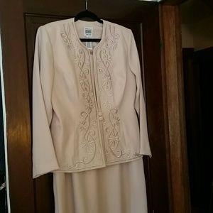 R&M Richards Formal Beige Dress w/ Jacket